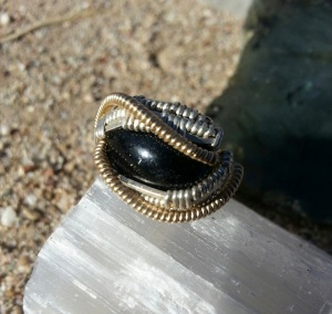 CH021813.R5.40 Black Onyx Ring in Sterling Silver and Gold #2 (front)